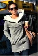 Oblique Zipper Cold-proof Cotton Jumper Grey