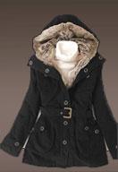 Fur Trim Black Coat Hooded